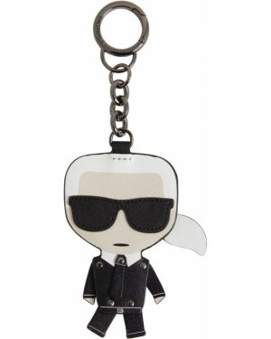 Czarny łańcuszek skórzany Karl Lagerfeld