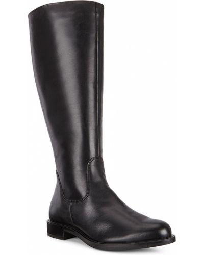 Черные сапоги без каблука Ecco