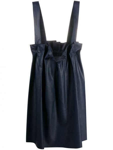С ремешком синяя юбка на бретелях из вискозы Stefano Mortari