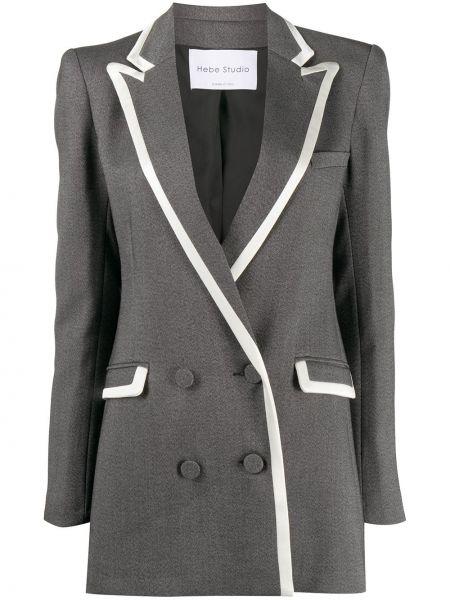 Белый удлиненный пиджак двубортный для полных Hebe Studio