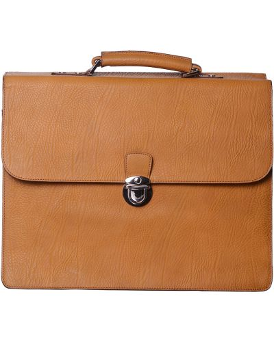 Кожаный портфель - желтый Tigamaro