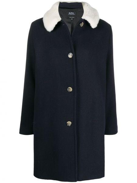 Однобортное синее шерстяное длинное пальто с воротником A.p.c.
