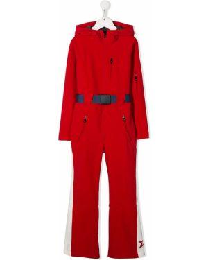 Красный с рукавами комбинезон на молнии с капюшоном Perfect Moment Kids