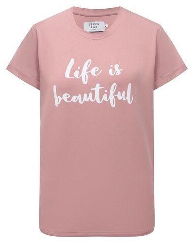 Розовая футболка с надписью Seven Lab