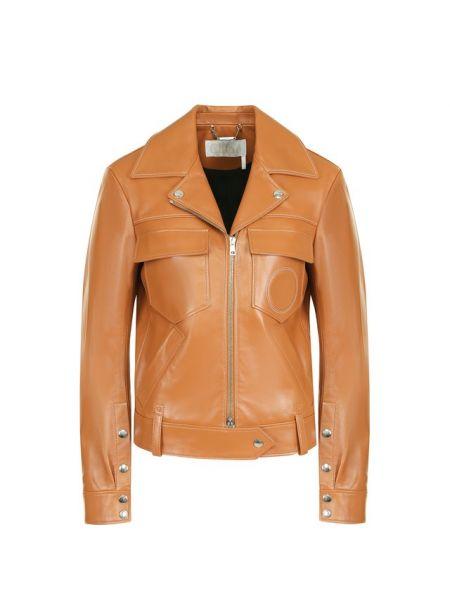Кожаная куртка с вышивкой с карманами Chloé