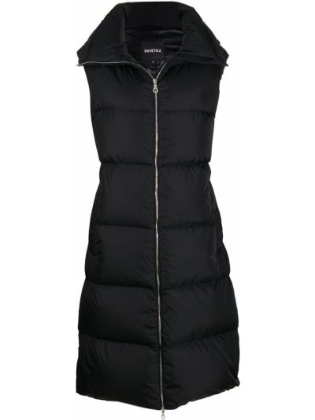 Черное пальто с воротником на молнии без рукавов Duvetica