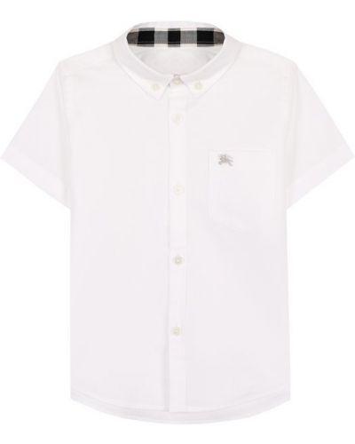 Рубашка с короткими рукавами хлопковая с логотипом Burberry