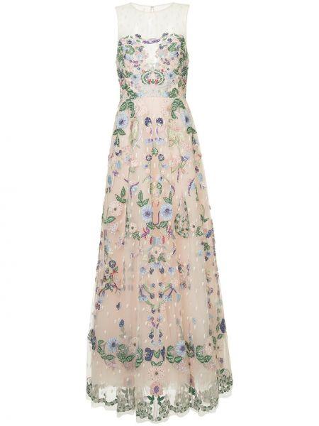 Розовое шелковое платье макси с вышивкой Zuhair Murad