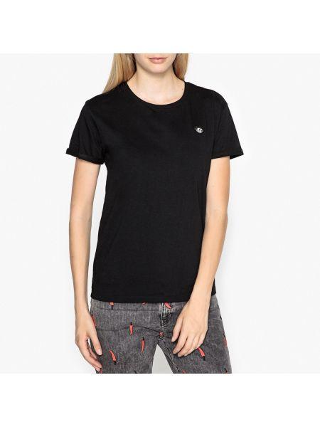 Футбольная черная футболка с вышивкой с круглым вырезом Maison Scotch