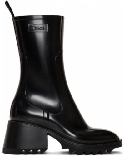 Черные сапоги без каблука на каблуке с квадратным носком квадратные Chloé