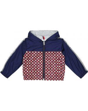 Хлопковая синяя куртка с воротником винтажная Moncler Enfant