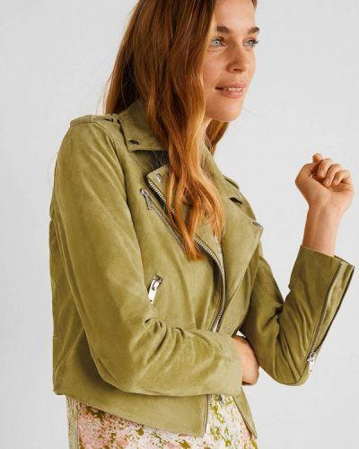 Кожаная куртка осенняя зеленая Mango