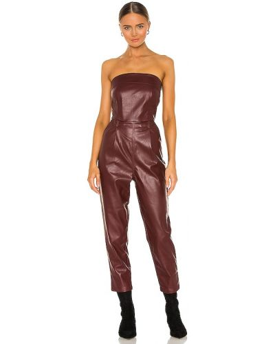 Кожаный красный комбинезон с карманами Kendall + Kylie