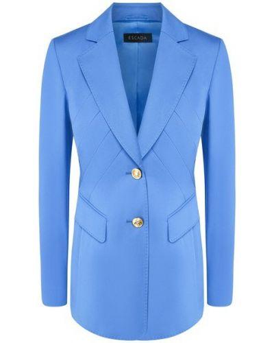 Приталенный синий пиджак с подкладкой Escada