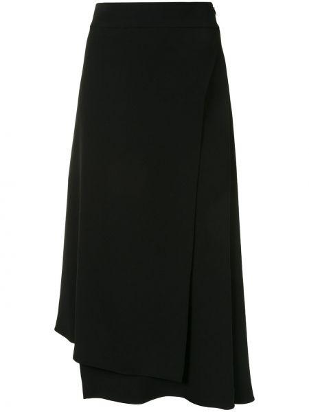 Шелковая с завышенной талией черная юбка миди Brunello Cucinelli