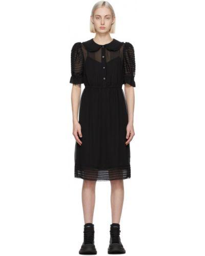 С рукавами шифоновое черное платье Marc Jacobs
