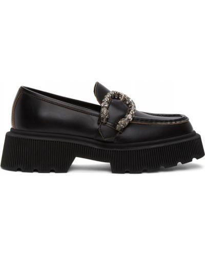 Srebro loafers prążkowany z prawdziwej skóry plac Gucci