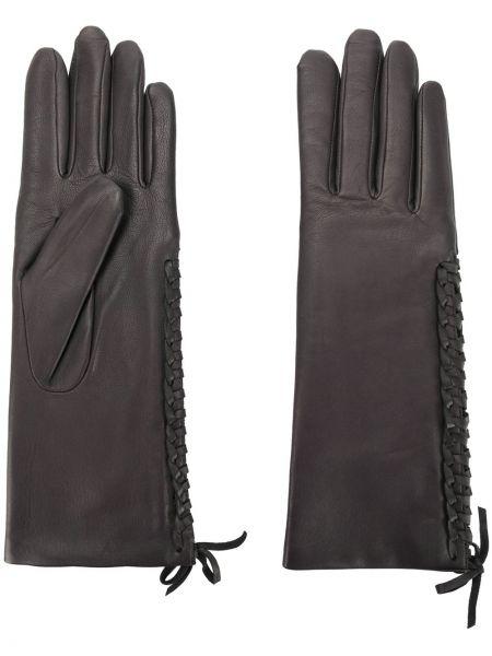 Серые кожаные перчатки из альпаки Agnelle