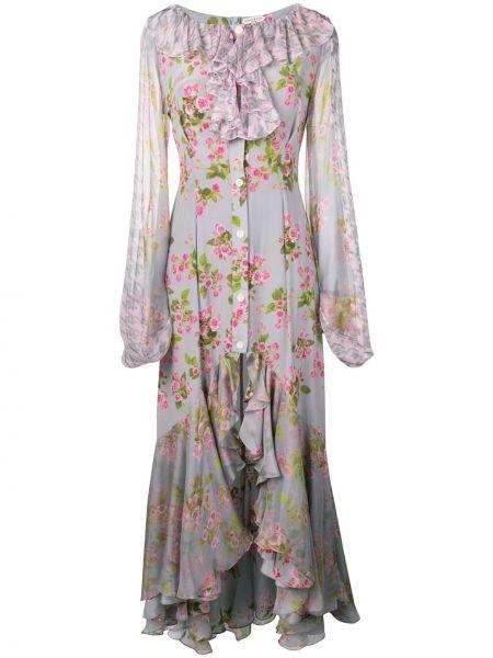 Шелковое платье макси - серое Natasha Zinko