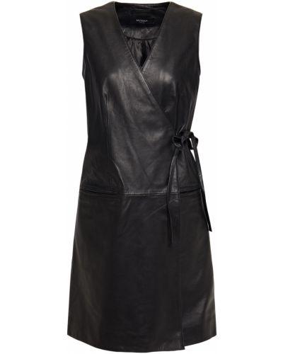 Кожаное черное платье мини с подкладкой Muubaa