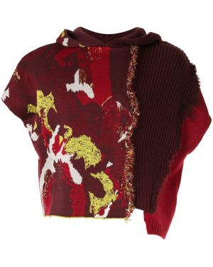 Акриловый свитер пэчворк с капюшоном Necessity Sense