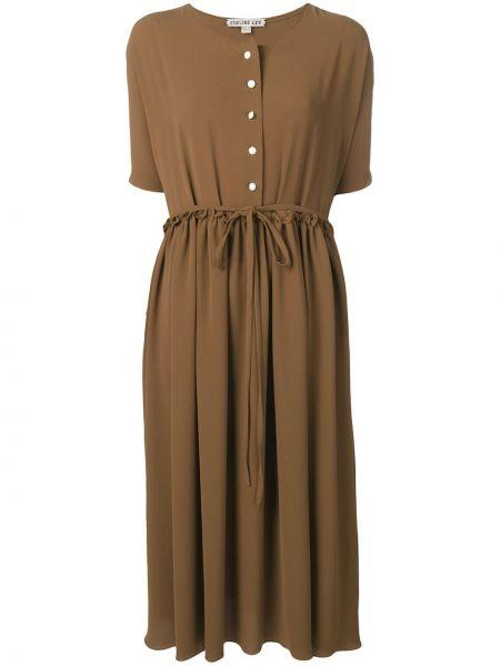 Плиссированное коричневое платье мини на пуговицах Edeline Lee