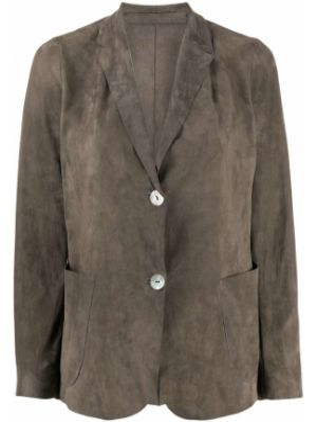 Однобортный серый кожаный пиджак Salvatore Santoro