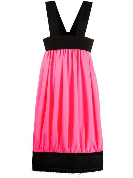 Расклешенное розовое платье миди без рукавов с вырезом Comme Des Garçons