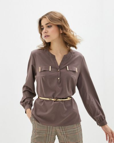 Коричневая блузка с длинным рукавом с длинными рукавами Mankato
