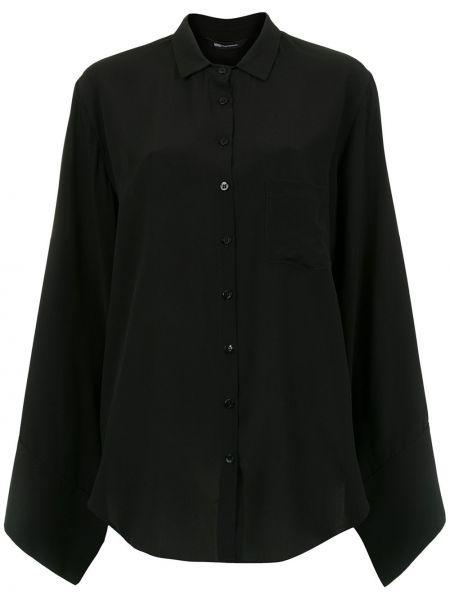 Черная классическая блузка с воротником свободного кроя Uma   Raquel Davidowicz