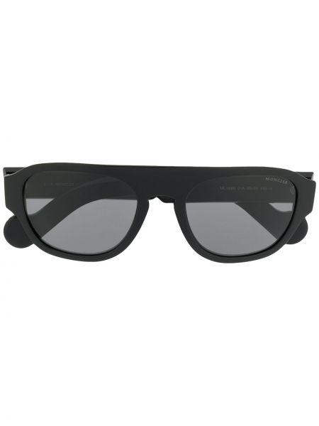 Прямые муслиновые черные солнцезащитные очки прямоугольные Moncler Eyewear