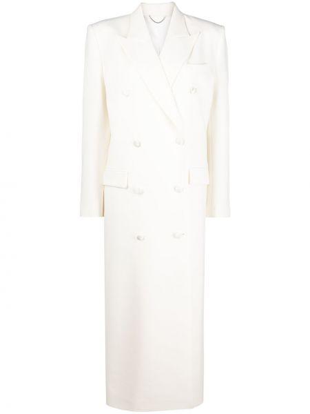 Шерстяное белое длинное пальто для полных Magda Butrym