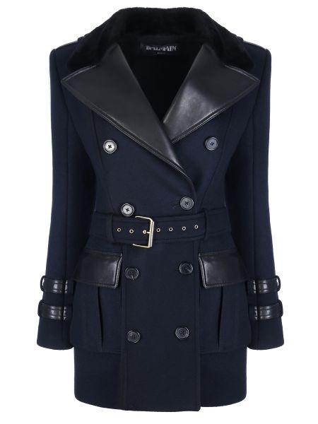 Кожаное пальто со вставками шерстяное Balmain