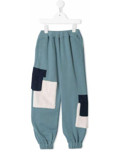 Хлопковые спортивные синие спортивные брюки с поясом Owa Yurika