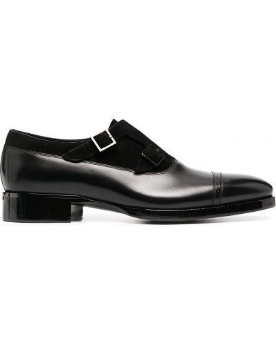 С ремешком кожаные черные пинетки на каблуке Santoni
