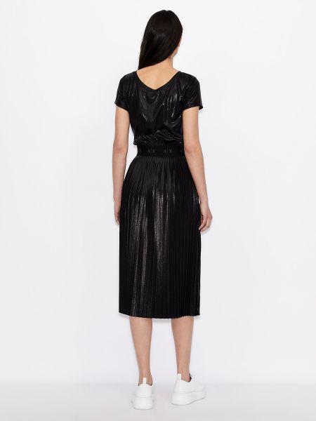 Трикотажное черное платье миди с вырезом Armani Exchange