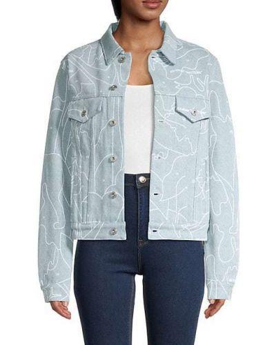 Ватная синяя джинсовая куртка с воротником Off-white