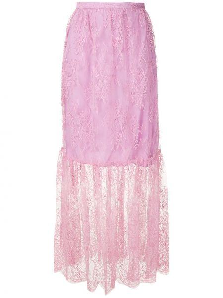 Ажурная фиолетовая прямая юбка макси Reinaldo Lourenço