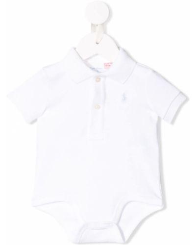 Biały sport body krótki rękaw bawełniany Ralph Lauren Kids