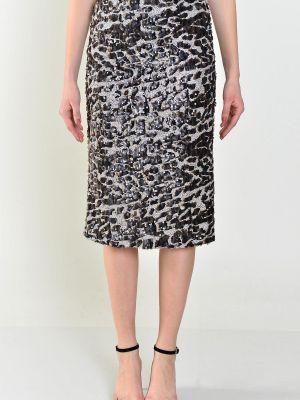 Brązowa spódnica z cekinami materiałowa Fashionhunters