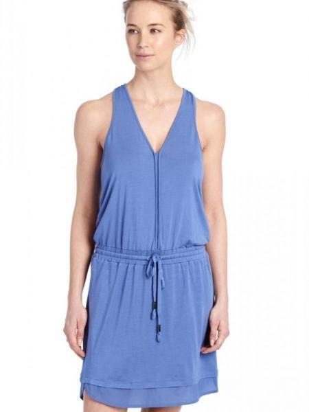 Синее платье с V-образным вырезом на молнии с поясом Lole