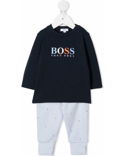 Хлопковый прямой топ в рубчик Boss Kidswear