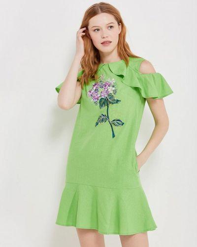 Прямое зеленое платье Indiano Natural