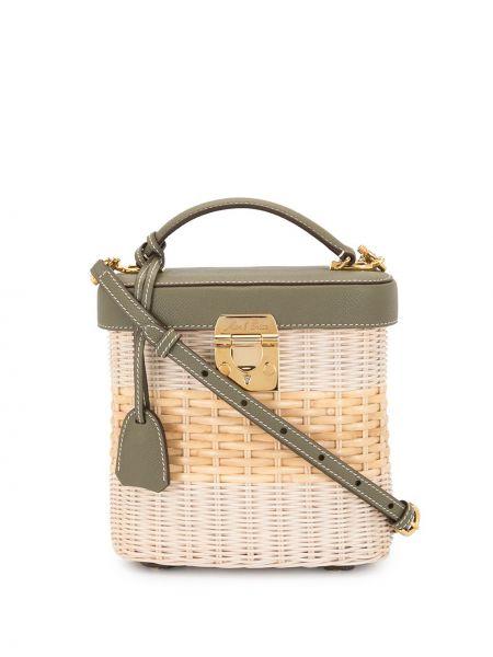 Золотистая белая сумка на плечо металлическая со вставками Mark Cross