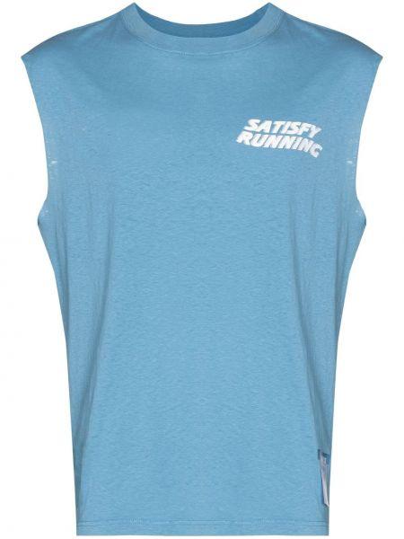 Niebieska T-shirt z nadrukiem z printem Satisfy