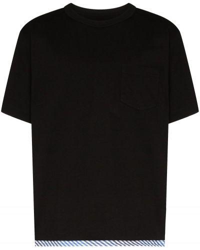 Хлопковая черная футболка свободного кроя с карманами Sophnet.