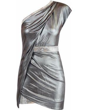 Вечернее платье футляр на одно плечо Balmain