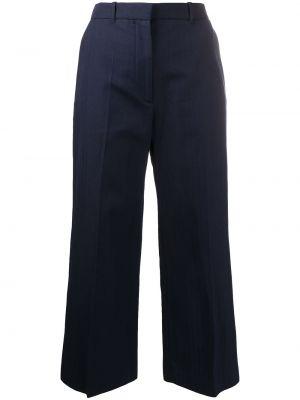 Хлопковые расклешенные синие укороченные брюки Kenzo