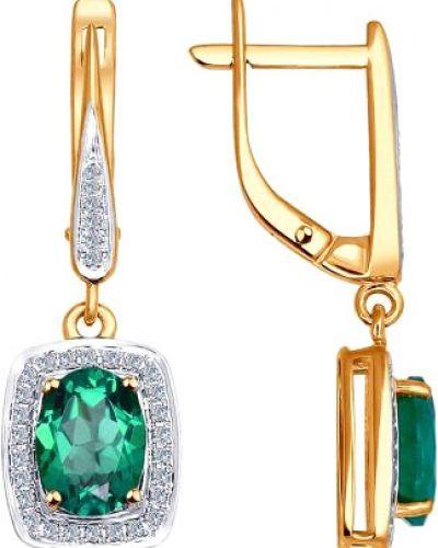 Золотые серьги с бриллиантом удлиненные Sokolov