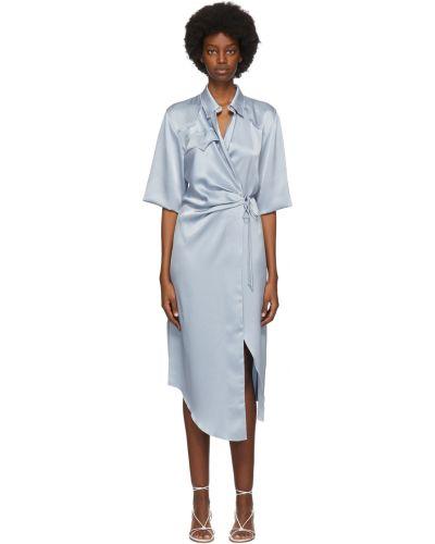 Платье атласное - синее Nanushka